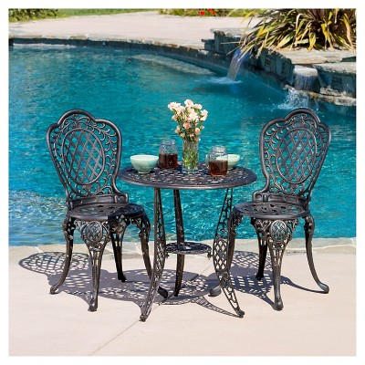 Cole 3pc Cast Aluminum Patio Bistro Set - Bronze - Christopher Knight Home