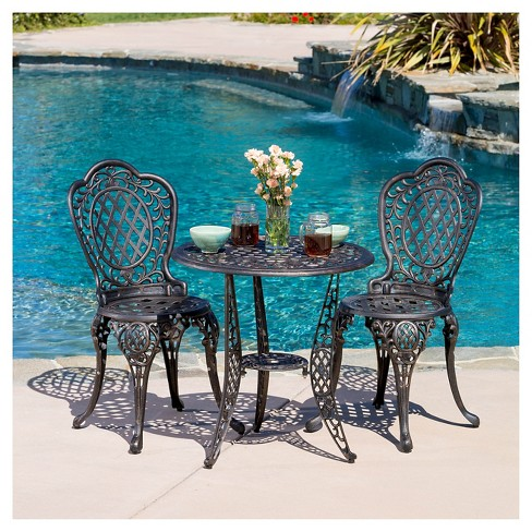 Cole 3pc Cast Aluminum Patio Bistro Set - Bronze - Christopher Knight Home - image 1 of 4