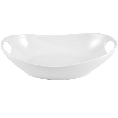 Home Essentials Oval White Porcelain Baking Dish with Handles 11 Inch
