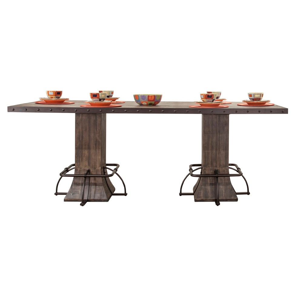 Jennings Wood and Metal Rectangle Counter Height Dining Table - Distressed Walnut (Brown) - Hillsdale Furniture