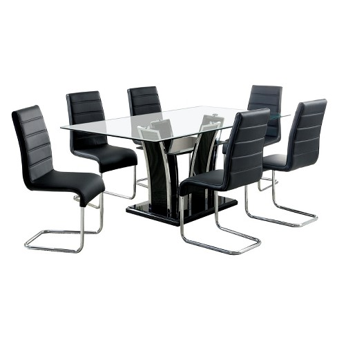 88f549eb8 IoHomes 7pc Glass Top Open Shelf Base Dining Table Set Metal Black   Target