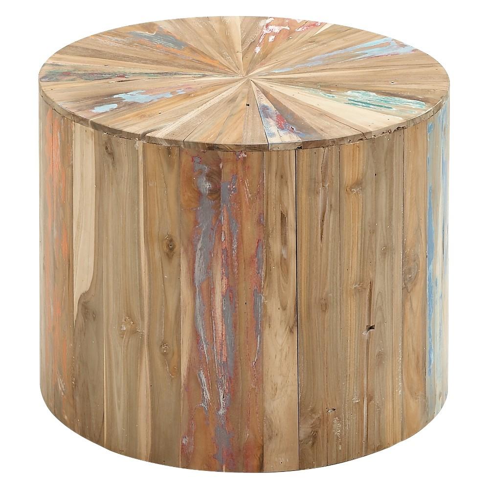 Wood Round End Table Natural - Olivia & May