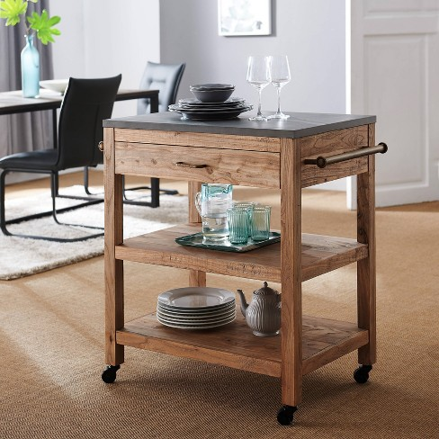 Clicross Rolling Kitchen Island with Storage Natural/Gray - Aiden Lane