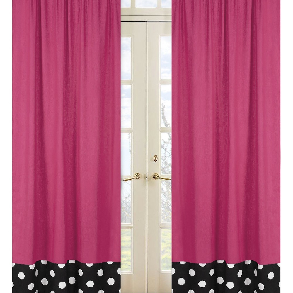 Sweet Jojo Designs Window Panels - Hot Dot - 2pc - Solid Pink