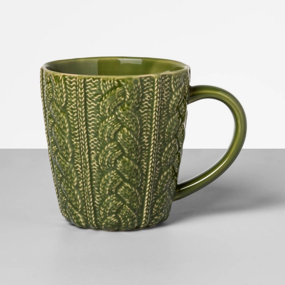 Image of 13oz Stoneware Embossed Sweater Mug Green - Opalhouse