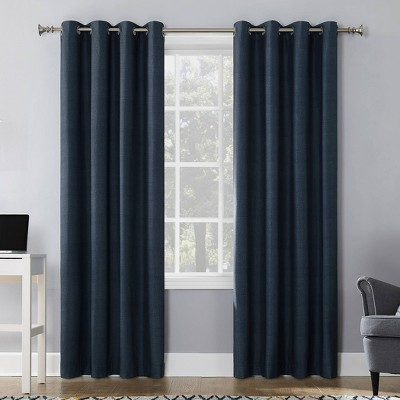 """50""""x95"""" Duran 100% Blackout Thermal Insulated Grommet Top Curtain Panel Navy Blue - Sun Zero"""