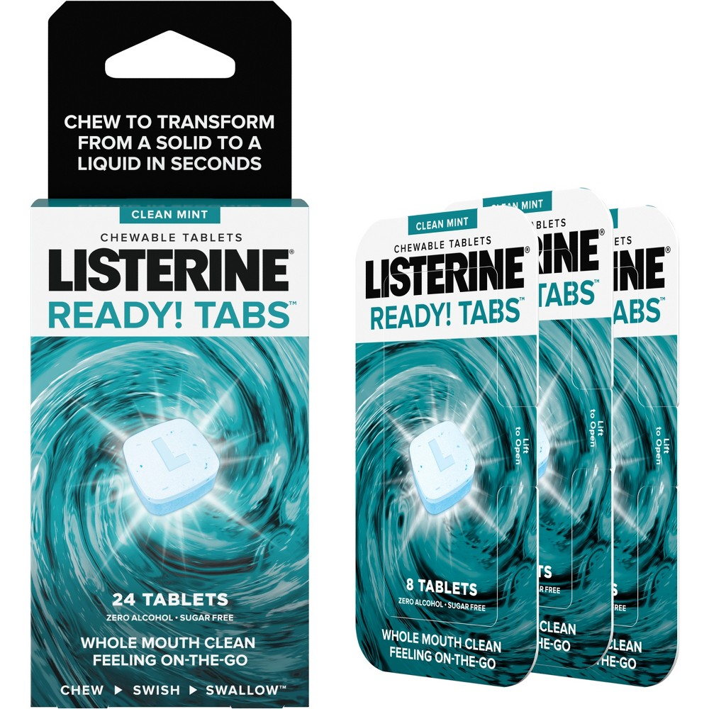 Image of Listerine Ready! Tabs Chewable Tablets with Clean Mint Flavor - 24ct