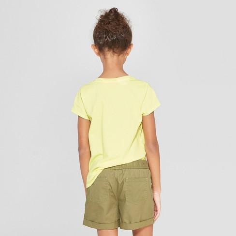 b5e03740078 Girls  Short Sleeve Tie Front Flower Flip Sequins T-Shirt - Cat   Jack™  Yellow