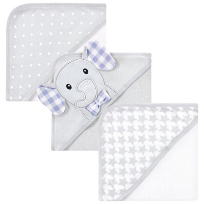 Hudson Baby Infant Boy Cotton Rich Hooded Towels, Gingham Elephant, One Size