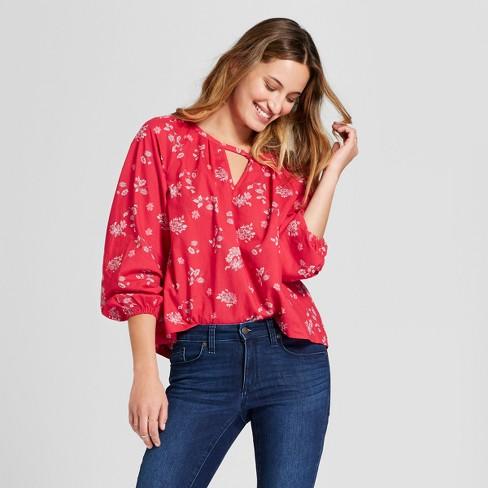 6a1c35212de Women s Long Sleeve Printed Woven Top - Universal Thread™ Red   Target