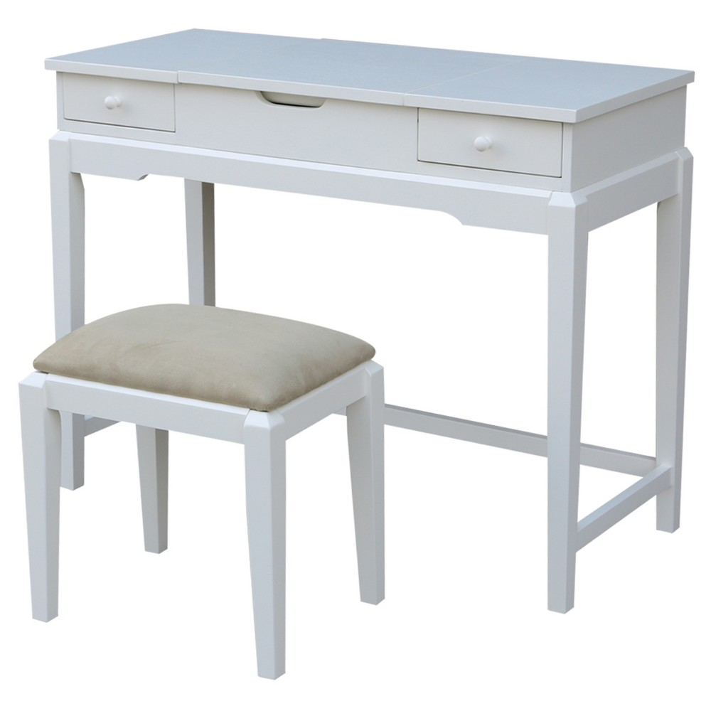 Alexandria Vanity Table with Vanity Bench - Snow White - International Concepts