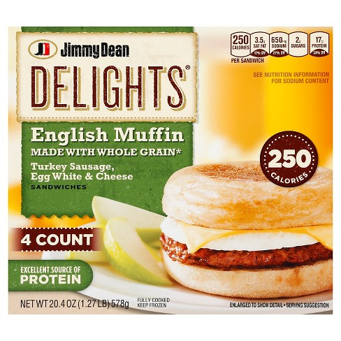 Jimmy Dean Delights Turkey Sausage, Egg Whites, & Cheese English Muffin - 4ct - image 1 of 1