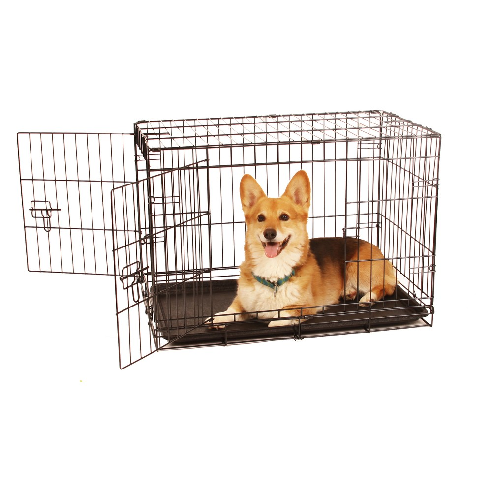 Carlson Two Door Wire Cat and Dog Crate with Divider - Medium, Black
