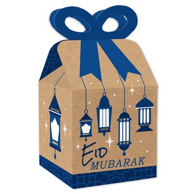 Big Dot of Happiness Ramadan - Square Favor Gift Boxes - Eid Mubarak Party Bow Boxes - Set of 12