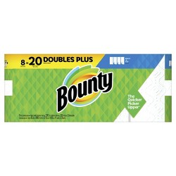 Bounty Select-A-Size Paper Towels White - 8 Doubles Plus Rolls = 20 Regular Rolls