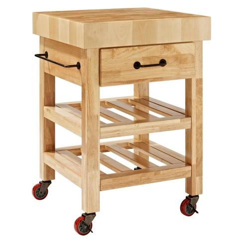 Marston Butcher Block Kitchen Cart Wood Natural Crosley
