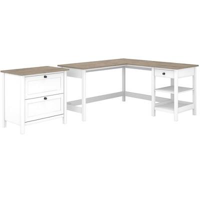 Bush Furniture L-Shaped Computer Desk w/2-Drawer Lateral File Cabinet