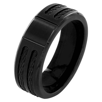 Crucible Men's Stainless Steel Plated Double Cable Inlay Ring - Black