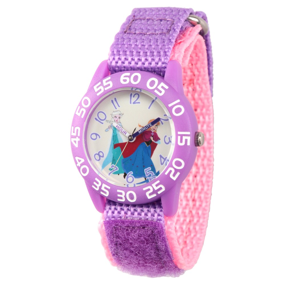 Image of Girls' Disney Frozen Elsa and Anna Clear Purple Time Teacher Watch - Purple