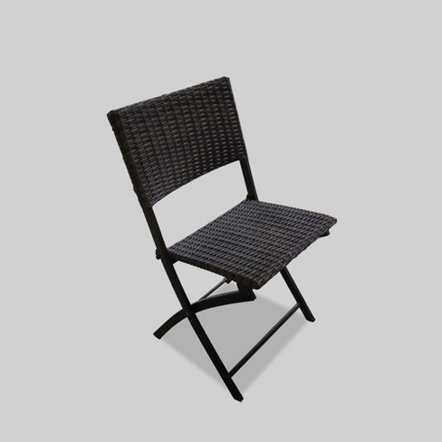 Monroe Wicker Patio Folding Chair Brown