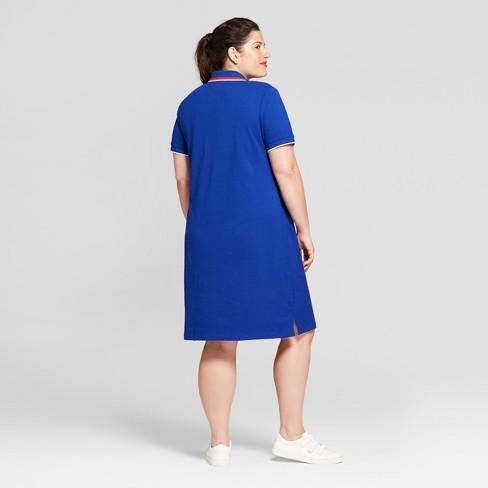 Women\'s Plus Size Polo T-Shirt Dress - Ava & Viv™ Blue 3X