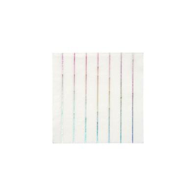 Meri Meri Silver Holographic Stripe Small Napkins
