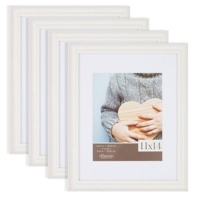 """4pc 11""""x14"""" Matted to 8""""x10"""" Farmhouse Tabletop or Wall Mount Picture Frames Distressed White - Life Moments"""