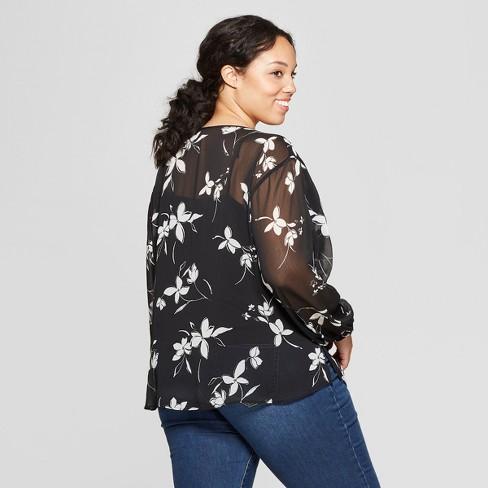 507119dc020 Women s Plus Size Floral Print Long Sleeve Crew Neck Chiffon Blouse - Ava    Viv™ Navy   Target