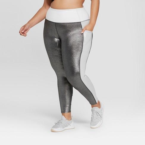 61ae3d12804e00 Women's Plus Size 7/8 High-Waisted Shine Leggings with Side Pockets - JoyLab ™