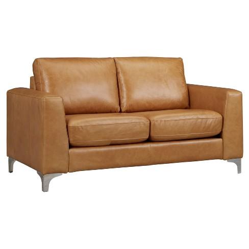 Pleasing Anson Leather Loveseat Camel Inspire Q Creativecarmelina Interior Chair Design Creativecarmelinacom
