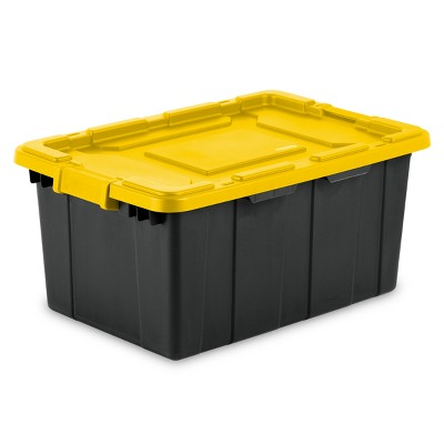 Sterilite 15gal Industrial Tote Black with Yellow Lid and Latches