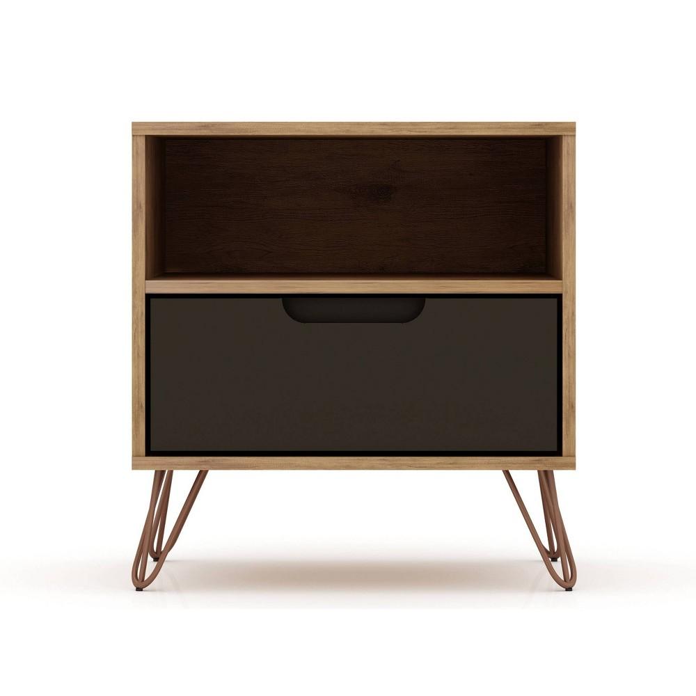 Image of 1.0 Rockefeller Nightstand Textured Gray - Manhattan Comfort