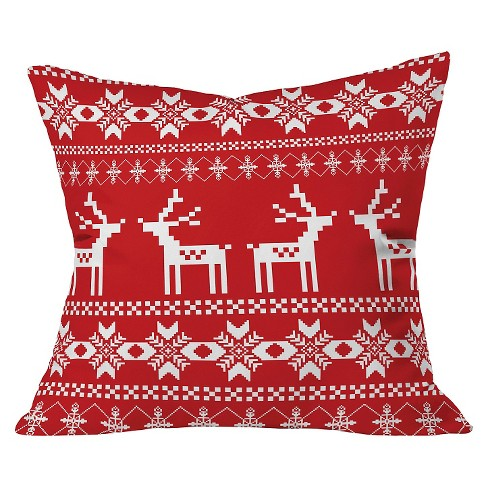 "Barn Red Christmas Deer Throw Pillow (20""x20"") - Deny Designs® - image 1 of 2"