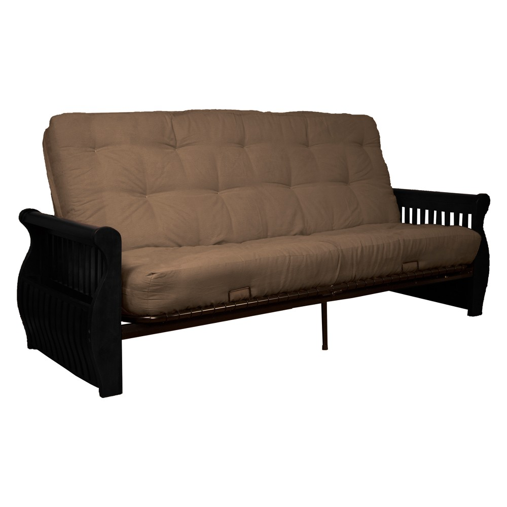 Storage Arm 8 Cotton/Foam Futon Sofa Sleeper - Black Wood Finish - Epic Furnishings, Mocha Brown