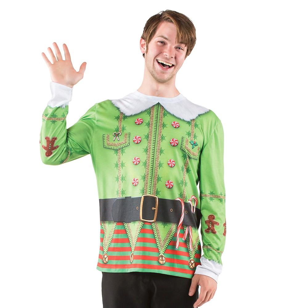 Men's Elf Long Sleeve Costume T-Shirt - Small, Multicolored