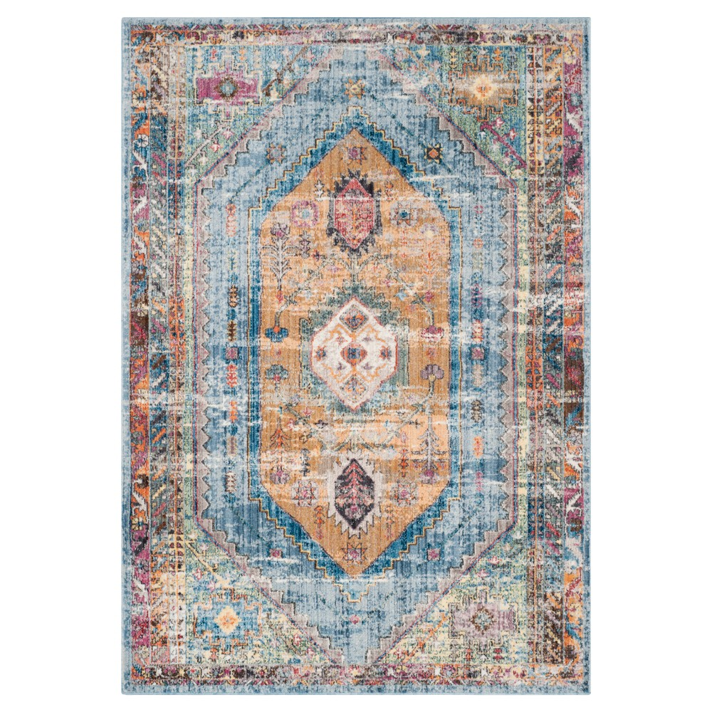 Red Damask Loomed Area Rug 6'X9' - Safavieh, Brown Blue