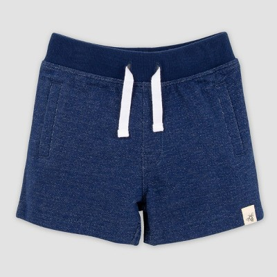 Burt's Bees Baby® Baby Boys' Organic Cotton Two-Tone French Terry Pull-On Shorts - Dark Blue 0-3M