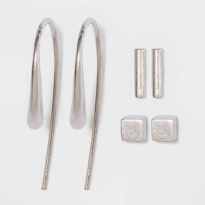 Sterling Silver Cube Stud and Bar Threader Earring Set 3pc - Universal Thread™ Silver
