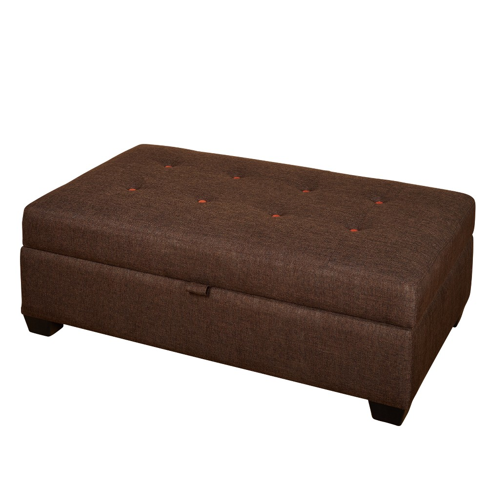Lucent Storage Ottoman - Brown - Angelo:Home