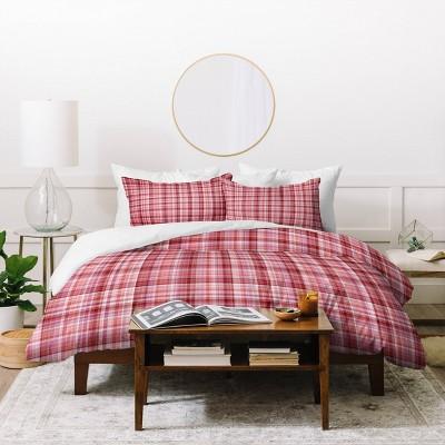 Full/Queen Lisa Argyropoulos Holiday Burgundy Plaid Duvet Set - Deny Designs