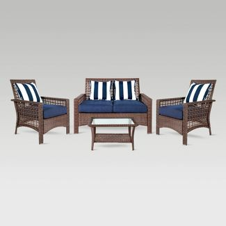 4pc Wicker Patio Conversation Set - Navy - Grand Basket