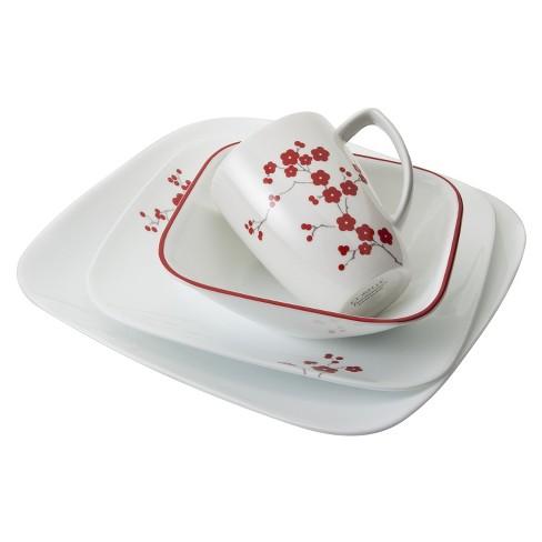 Corelle Square 16pc Dinnerware Set Hanami Garden - image 1 of 3