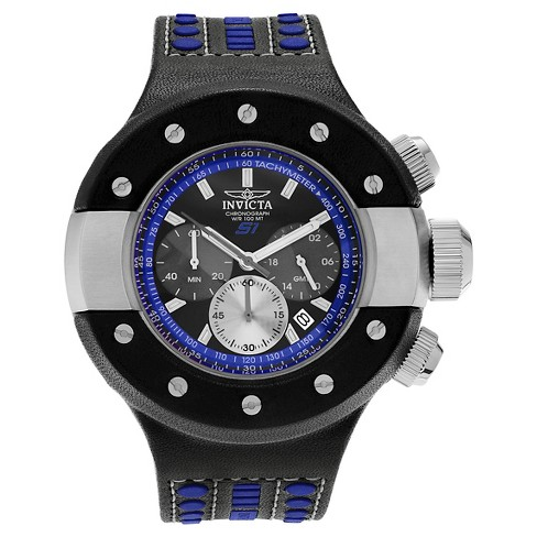 Men's Invicta 19179 S1 Rally Quartz Chronograph blue Dial Strap Watch - Black/Blue - image 1 of 3