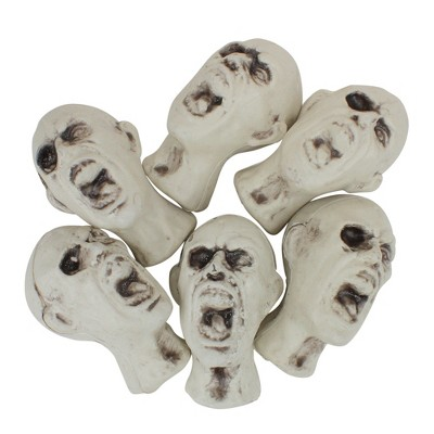 """Northlight 3.5"""" Skeleton Skull Heads with Open Mouths Halloween Decorations 6ct - White/Gray"""