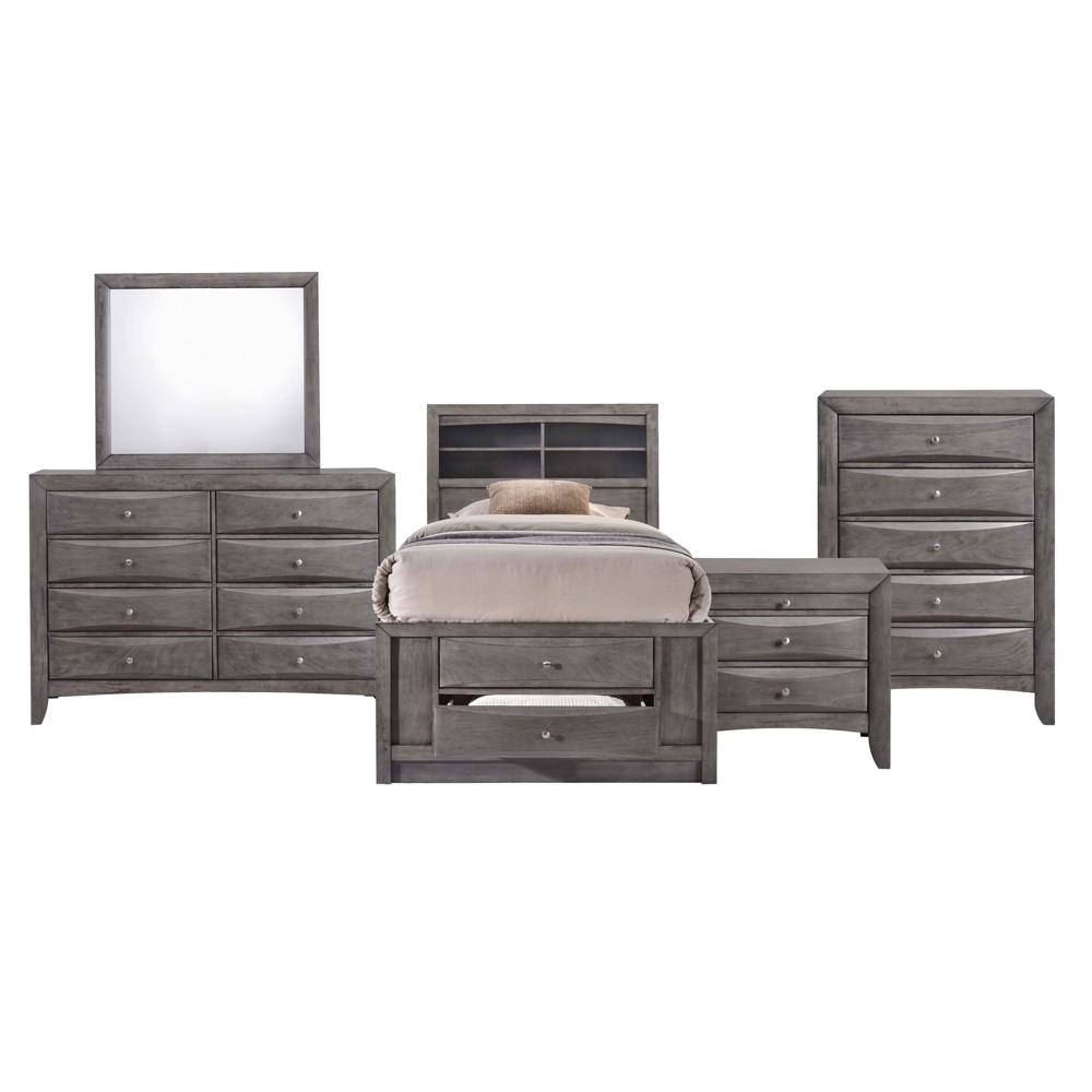 Madison Twin Storage 5pc Bedroom Set Gray - Picket House Furnishings