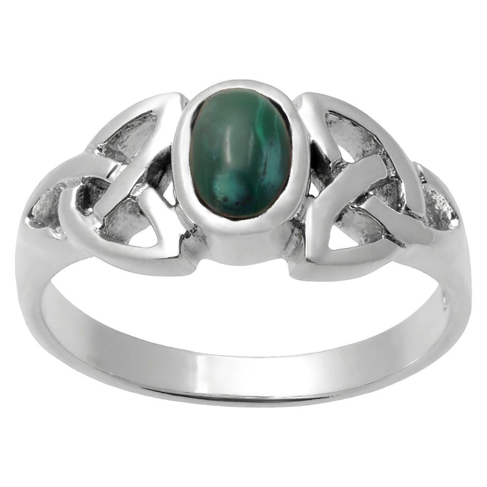 1/8 CT. T.W. Oval-cut Malachite Celtic Knot Bezel Set Ring in Sterling Silver - Dark Green, 6, Girl's