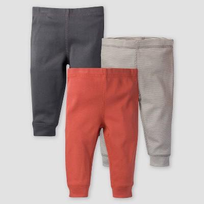 Gerber Baby Boys' 3pk Safari Pull-On Pants - Orange/Gray 0-3M