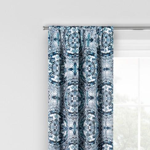 Islington Blackout Window Curtain Indigo/Medallion 37X95 - Eclipse™