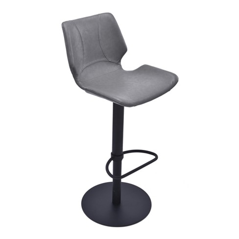 Zuma Adjustable Swivel Metal Barstool in Vintage Gray Faux Leather and Black Metal Finish - Armen Living - image 1 of 5
