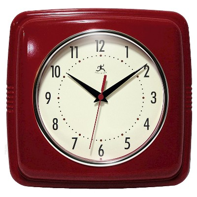 9  Square Retro Decorative Clock Red - Infinity Instruments®